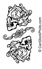 vector, vendimia, dos, style., cráneos, illustration.