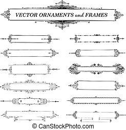 vector, vendimia, marco, conjunto, ornamento