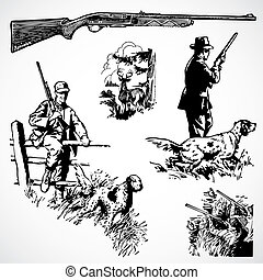 vector, vendimia, rifles, caza, gráficos
