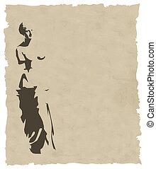 Vector venus silueta en papel viejo