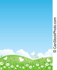 vector, verano, illustrati, paisaje.