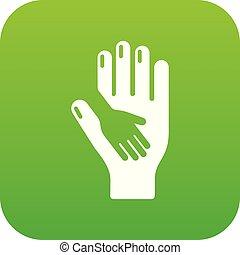Vector verde de icono de mano
