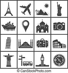 Vector viaja y marca iconos