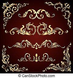 Vector victoriano, set de adornos dorados, elementos decorativos como banderas, marcos, divisores, adornos y patrones en el fondo oscuro. Remolinos caligráficos dorados