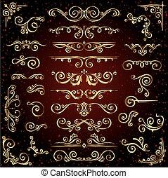 Vector victoriano, set de adornos dorados, elementos decorativos como banderas, marcos, divisores, adornos y patrones en el fondo oscuro. Remolino caligráfico dorado