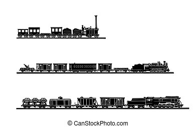 vector, viejo, tren, plano de fondo, conjunto, blanco