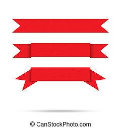 vector, viejo, vendimia, aislado, etiqueta, papel, cinta, popular, bandera, rojo