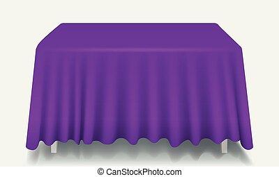 Vector violeta vacía mesa rectangular con mantel aislado.