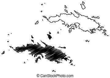 vector, virgen, estados, bosquejo, islas, (u.s., unido, condado, u..s.., garabato, isla, américa, thomas, distrito, us), mapa, s., santo, ilustración, estados unidos de américa