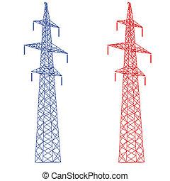 vector, voltaje, silueta, poder alto, lines., illustration.