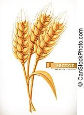 vector, wheat., oreja, icono, 3d