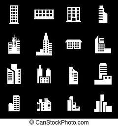 Vector White Building icono set