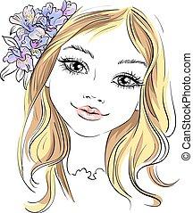 Vectora hermosa chica de moda con flores en el pelo
