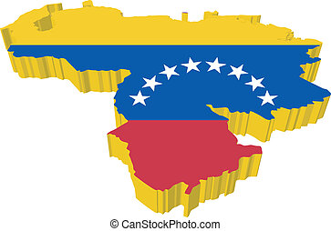 Vectores 3D mapa de Venezuela