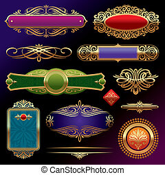 Vectores conjuntos de adornos de páginas de oro: estandartes, marcos, devidrios, adornos y patrones de fondo oscuro