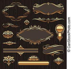 Vectores conjuntos de adornos de páginas de oro: estandartes, marcos, devidrios, adornos y patrones en el fondo oscuro de la madera