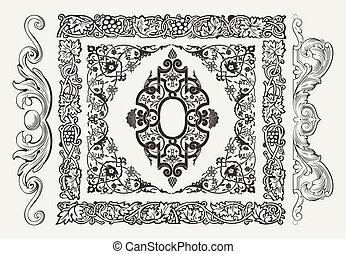 Vectores conjuntos de adornos de páginas de oro: fronteras, estandartes, dividendos, adornos y patrones