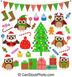 Vectores de elementos de fiesta navideña