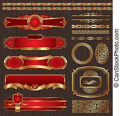 Vectores de etiquetas doradas enmarcadas