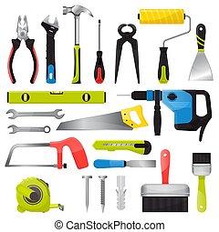 Vectores de herramientas manuales martillos pinzas y destornilladores de ilustración de la caja de herramientas taller de construcción conjunto de carpinteros espacio y sierra de mano aislada en el fondo blanco