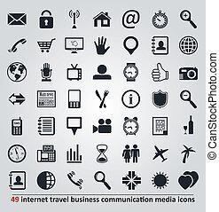 Vectores de iconos para Internet, viajes, negocios, comunicación y medios