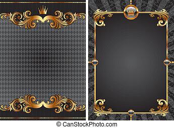 Vectores de oro y decorativos de lujo negros