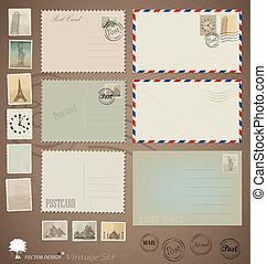 Vectores: diseños de postales, sobres y sellos.