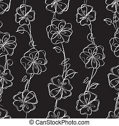 Vectores negros de fondo floral