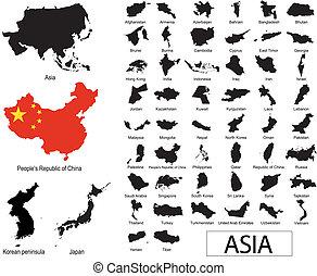 vectors, asiático, países