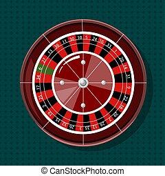 vectors, rueda de la ruleta, cima, casino, vista.
