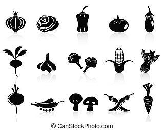 vegetal, conjunto, negro, iconos