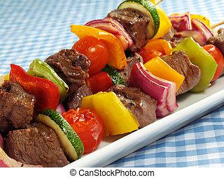 vegetal, filete, kebabs, y