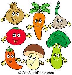 vegetal, lindo, caricatura, colección