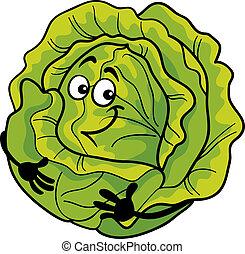 vegetal, lindo, col, caricatura, ilustración