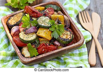 vegetales, asado parrilla