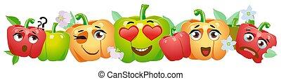 vegetales, campana, border., caricatura, emoji, pimienta, lindo