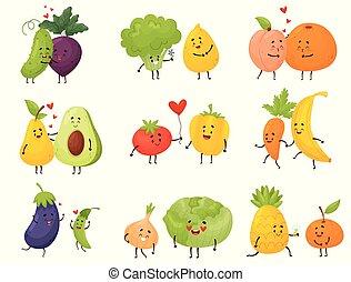 vegetales, conjunto, vector, fruits., ilustración, caricatura, diferente, fondo., blanco