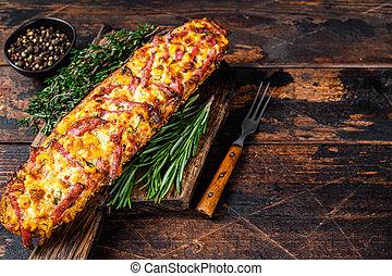 vegetales, jamón, disecado, queso, vista., de madera, board., baguette, espacio, fondo., copia, tocino, oscuridad, cima