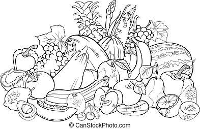 vegetales, libro colorear, fruits