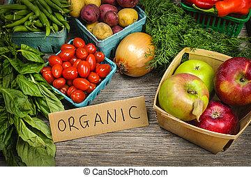 vegetales, orgánico, mercado, fruits