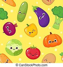 vegetales, seamless, patrón, lindo, caricatura