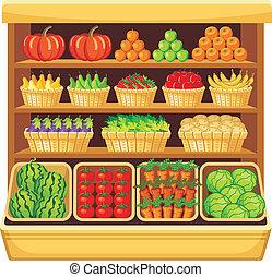 vegetales, supermarket., fruits.