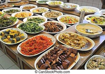 vegetariano, comida, buffet