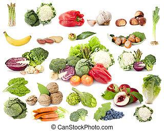 vegetariano, fruta, dieta, colección, vegetales
