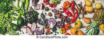 vegetariano, helathy, alimento, vista, cocina, plano de fondo, cima, crudo