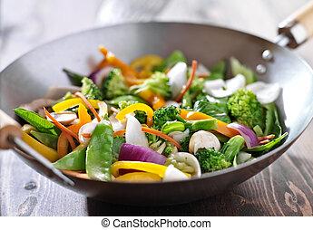 vegetariano, revolver fríen, wok