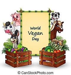 vegetariano, señal, mundo, día, texto, vegetales, cultive animales