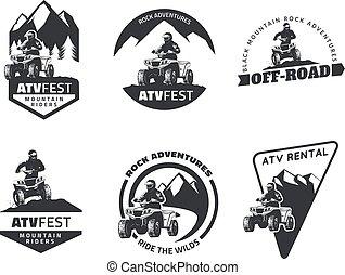 vehículo, diseño, atv, insignias, off-road, conjunto, all-terrain, emblemas, elements., icons.