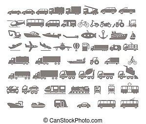 Vehículo y transporte icono plano