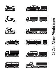vehículos, camino, iconos